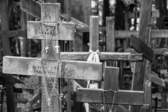 Wooden crosses in black and white Royalty Free Stock Images