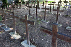 Wooden crosses on a cemetery Stock Image