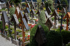 Wooden crosses in a graveyard Royalty Free Stock Images