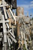 Wooden Crosses Hanging On Tombstone Royalty Free Stock Photos