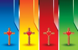 Wooden crosses with heart icon on colored banners. Vertical multicolored banners with a wooden cross and a heart icon Stock Image
