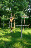Wooden crosses on old cemetery Stock Image