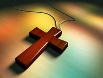 Wooden crucifix. Wooden cross, light coming through some stained glass window. Digital illustration Stock Photos