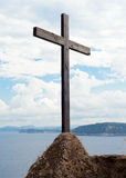 Wooden crucifix in the Aragonese Castle. Sheer above the sea Royalty Free Stock Photography