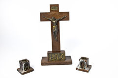 Wooden Crucifix and Candle Holders Stock Images