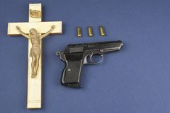 A wooden crucifix with the lettering INRI Stock Image