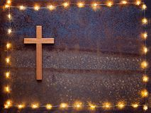 Wooden crucifix on rusty iron Royalty Free Stock Photos