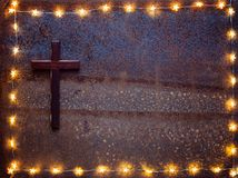 Wooden crucifix on rusty iron Stock Photography