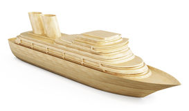 Wooden cruise liner  on white background. 3d. Royalty Free Stock Photo