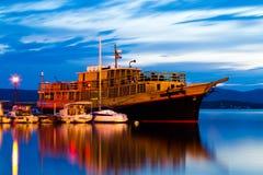 Wooden cruise ship Stock Photo