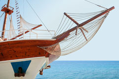 Wooden cruising yacht's bow Stock Images