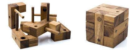 Wooden cube Stock Photography