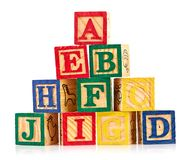 Wooden cube alphabet Royalty Free Stock Photo