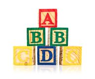 Wooden cube alphabet Stock Photography