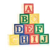 Wooden cube alphabet Stock Image