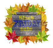 Wooden cube with autumn leaves around and word Black Friday Sale Stock Images