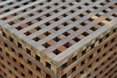 Wooden cube bench. In the parks Stock Photo