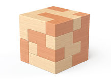 Wooden cube brain teaser game Stock Photo