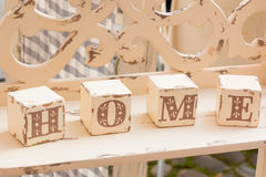 Wooden cube decoration: home letters Royalty Free Stock Image