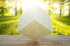 Wooden cube with engraved maze Stock Photo