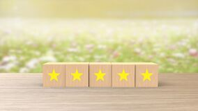 Free Wooden Cube Five Yellow Star Review On Blur Field Of Flowers Background. Service Rating, Satisfaction Concept. Reviews And Stock Image - 195598361