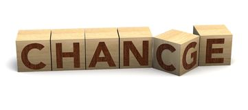 Wooden cube flip with word `change` to `chance` on a white background. Personal development and career growth, change concept. Wooden cube flip with word `change stock photography