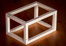 Wooden cube frame Royalty Free Stock Photos