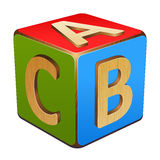 Wooden cube with letters A,B,C Royalty Free Stock Photo