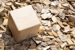 Wooden cube lying on mulch Stock Images
