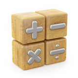 Wooden Cube, Math Operations Signs. 3d illustration Royalty Free Stock Images