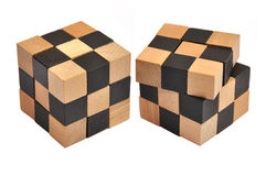 Wooden cube puzzle Royalty Free Stock Photography