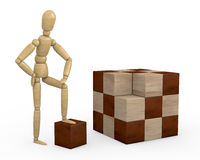 Wooden cube puzzle. One wooden dummy with a unsolved cube puzzle (3d render Stock Images