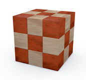 Wooden cube puzzle. One puzzle made with cubes, solved (3d render Royalty Free Stock Photos