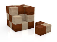 Wooden cube puzzle. One puzzle made with cubes, not solved (3d render Royalty Free Stock Photography