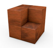 Wooden cube puzzle. One puzzle made with cubes, one piece is missing (3d render Stock Images