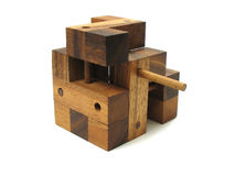 Wooden Cube Puzzle 4. Wooden cube puzzle. Isolated on white background Royalty Free Stock Photography