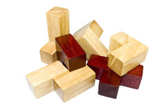 Wooden cube puzzle elements isolated Stock Photography