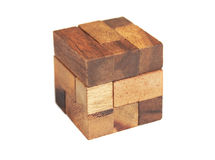 Wooden cube puzzle isolated Stock Photos