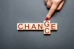 Wooden cube with word change to chance on wood table. Personal development and career growth or change yourself concept. concept royalty free stock images
