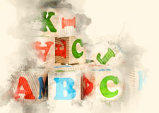 Wooden cubes. ABC. Watercolor background Stock Images