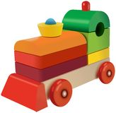 Wooden cubes colored locomotive toy Stock Photos