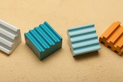 Wooden cubes, colorful toy bricks.  stock images