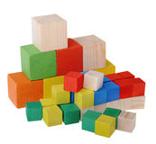 Wooden cubes constructor Royalty Free Stock Photo