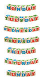Wooden cubes. Days of the week Stock Images