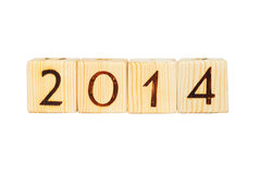 Wooden cubes. 2014 figures on wooden cubes Royalty Free Stock Photo