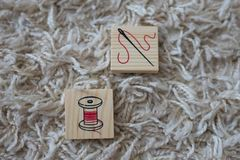 Wooden cubes with household items royalty free stock images