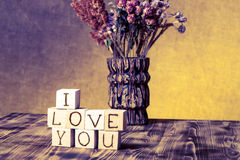 Wooden cubes with inscription I LOVE YOU Royalty Free Stock Photo