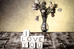Wooden cubes with inscription I LOVE YOU Stock Images