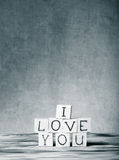 Wooden cubes with inscription I LOVE YOU Stock Photos