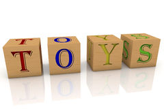 Wooden cubes with inscription Toys Royalty Free Stock Photography